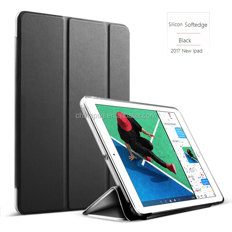 TPU+PC Ultra Slim Smart Pu Leather Case for iPad, Flip Cover Case for iPad 234 With Softedge