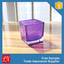 purple sprayed inside square glass vase