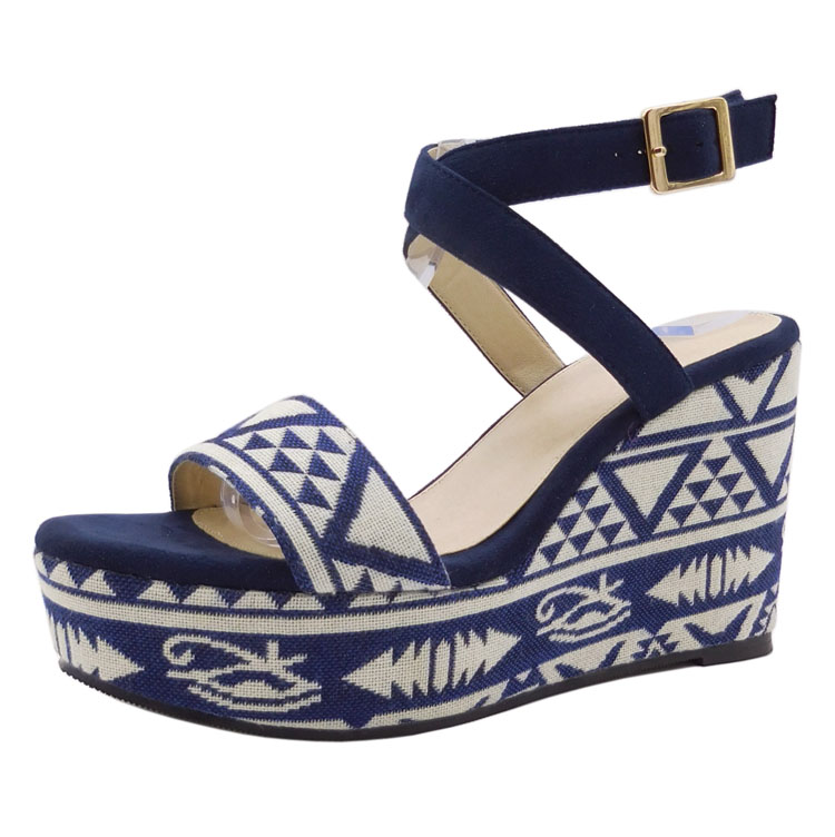 Tailor made Luxury EUR Faux suede crisscross strap open toe Blue high wedge Rubber <strong>sandals</strong>