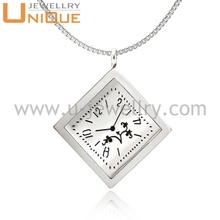 New fashion jewelry stainless steel clock pendant necklace square essential oil diffuser pendant mangalsutra