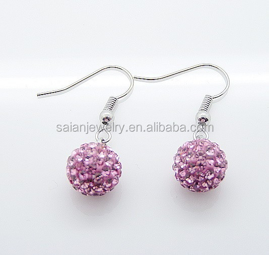 8mm 10mm 12mm shamballa drop earrings fashion dangle earrings light pink color wholesale cheap price!!!