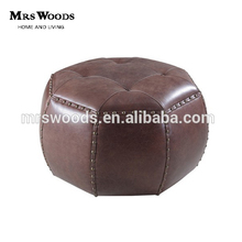 french vintage style upholstered round leather ottoman stool