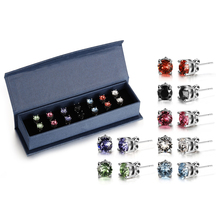18ct White Gold-Plated 6mm Coloured Round Earring Sets Made With SWAROVSKI ELEMENTS