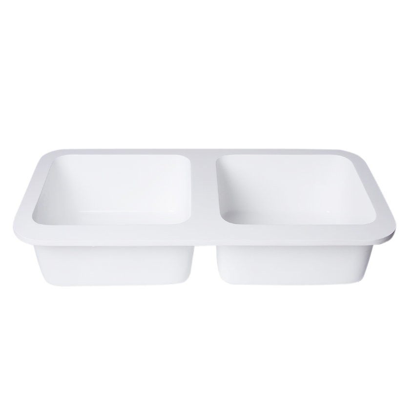 Snow white color double bowls acrylic wash basin
