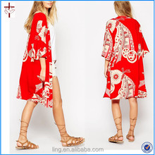 Wholesale New Design Women Fashion Kimono in Red Chinese Whispers Print
