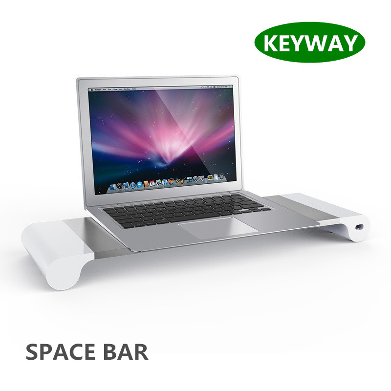 2017 Hot Sale Aluminum 4 USB Port Monitor Stand Holder Space Bar Charger Dock Station Stand For PC Laptop