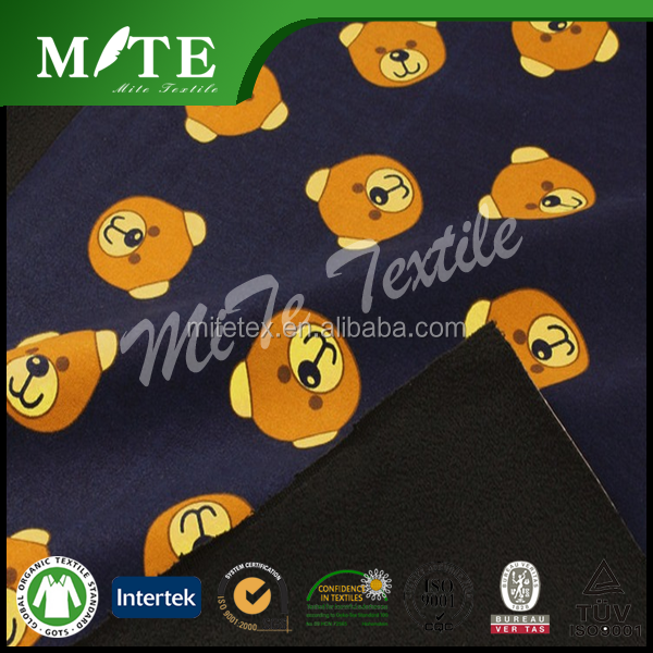 100 % polyester wholesale cute bear printed polar fleece 150D/144F/96F