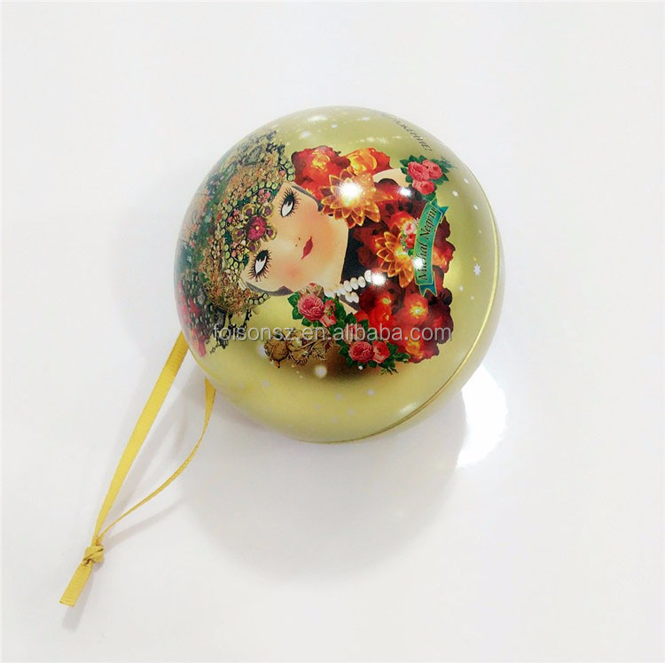 Full color printed small ornament hanging tin ball with string egg round shape 0.2mm thickness CMYK offset print stress tin box
