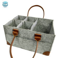 Eco-friendly Portable Tote Bag Felt Baby Diaper Caddy Organizer with Leather Straps