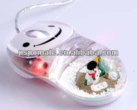Snow man floater Liquid wired mouse for the hollidays