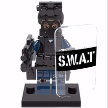 Military Modern SWAT Figure Police with Shield Weapon Bricks building blocks set Model Toys for Children KY017
