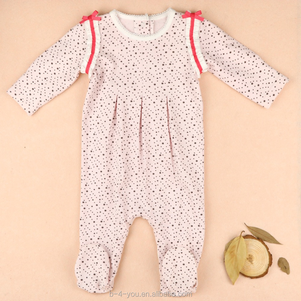 new design organic cotton long sleeve footed pajama funny baby romper