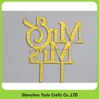 Cake stores application golden glitter acrylic decorative design cake topper
