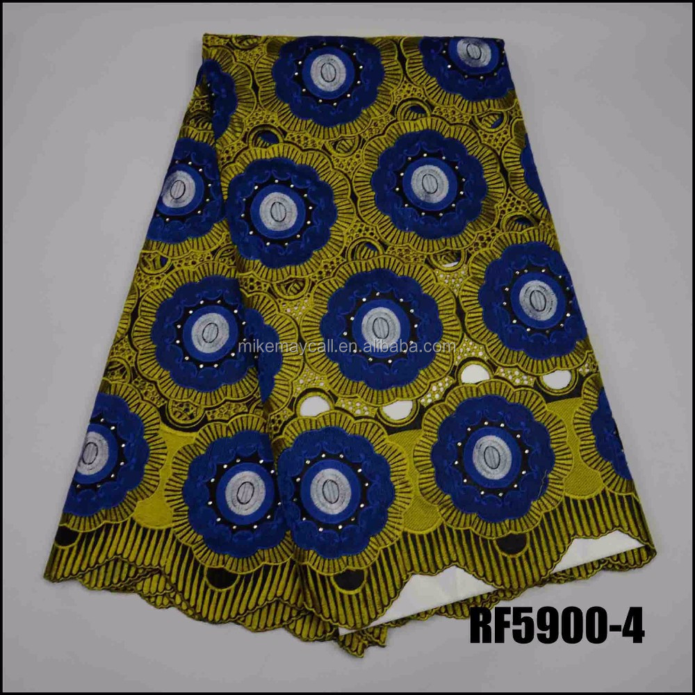 Big African Swiss Voile Lace High Quality Eyelet Cotton blue Lace Material Latest African Swiss Lace Fabric With Stones
