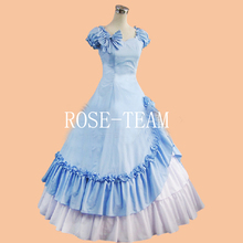 Rose Team-Free Shipping Custom Made Southern Belle Gown Civil War Dress Light Blue Sexy Carnival Halloween Costume