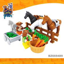 Mini horse farm animal models play set plastic building brick toys for kids educational game