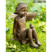 Resin garden girl figurine