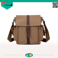 small quantity high quality vintage crazy horse leather messenger bag for men canvas shoulder bag