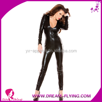 long leather rubber leotard/latex sleeve sexy girls catsuit crotch 2 way zipper costumes women picture