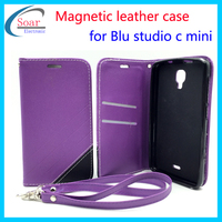 Strong magnetic book style wallet cell phone case for Blu studio C Mini