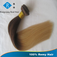 Cheap wholesale price 100% human indian dip dye remy hair weave