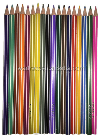 Stripe color lead plastic pencils in 18 colors