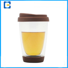 Wholesale double wall glass coffee cup borosilicate material heat-resistant double wall glass cup for sale
