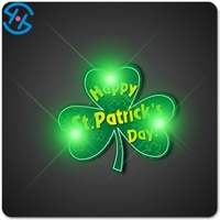 Shamrock Saint Patrick Day Decoration Flashing Pins Wholesale with Cheap Price for Promotion