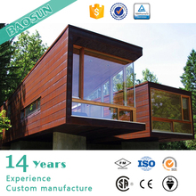 Prefabricated 40 feet glass wall living container house luxury container house with wheel