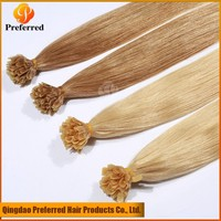 Top quality Blond color 613# Peruvian U tip hair extension pre-bonded hair for white woman