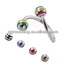 Fancy spiral twister piercing fake belly navel ring