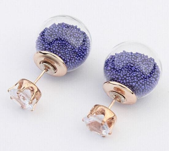 Cheap factory Price Wholesale Hot Sale Double Side Stud Earrings Fashion Glass Ball Shape Studs Women Earrings