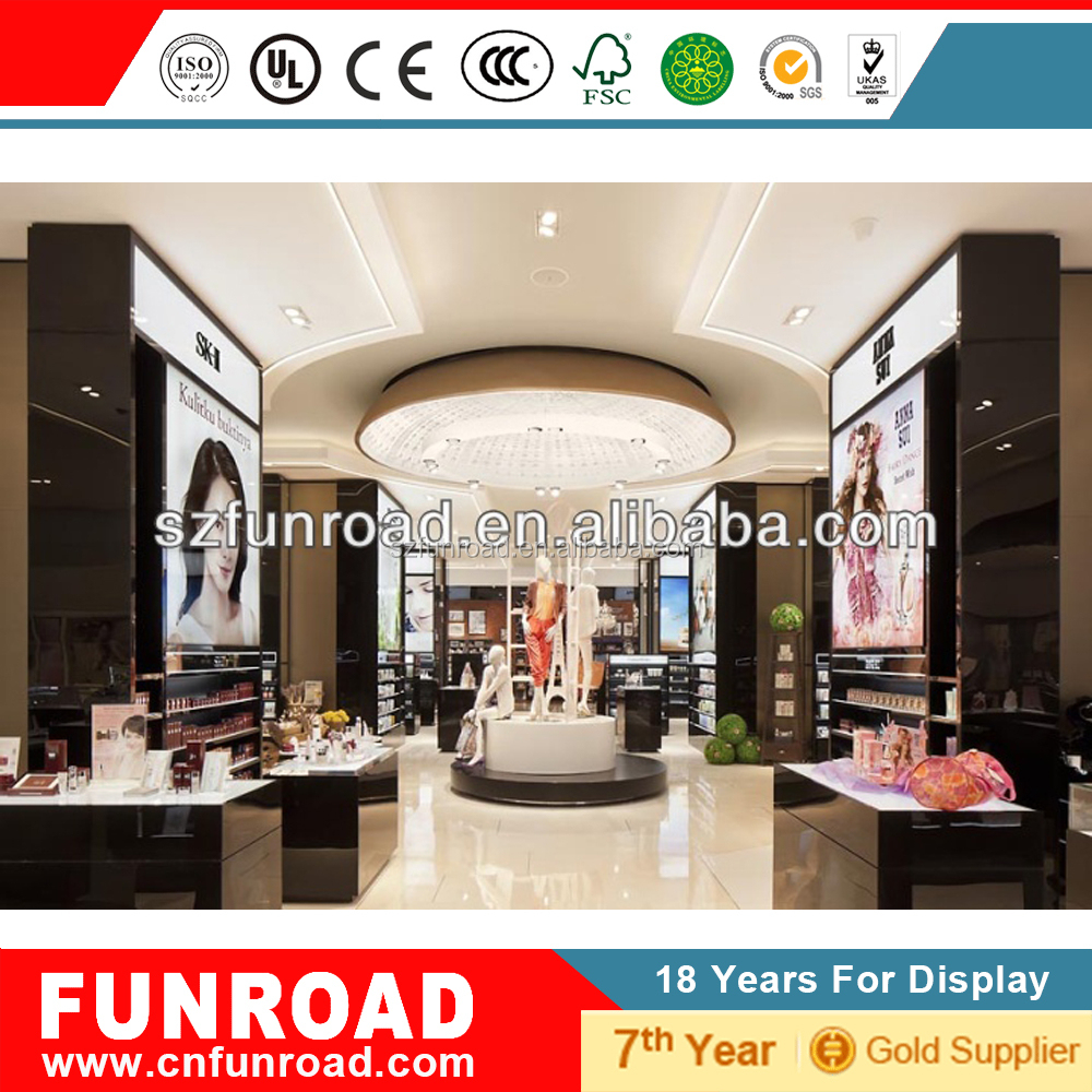 Modern retail cosmetic display counter for store fixtures