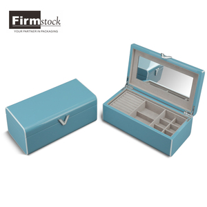 Glossy Wooden Blue Jewelry Box With Movable Compartments For Ring Bracelet Necklace