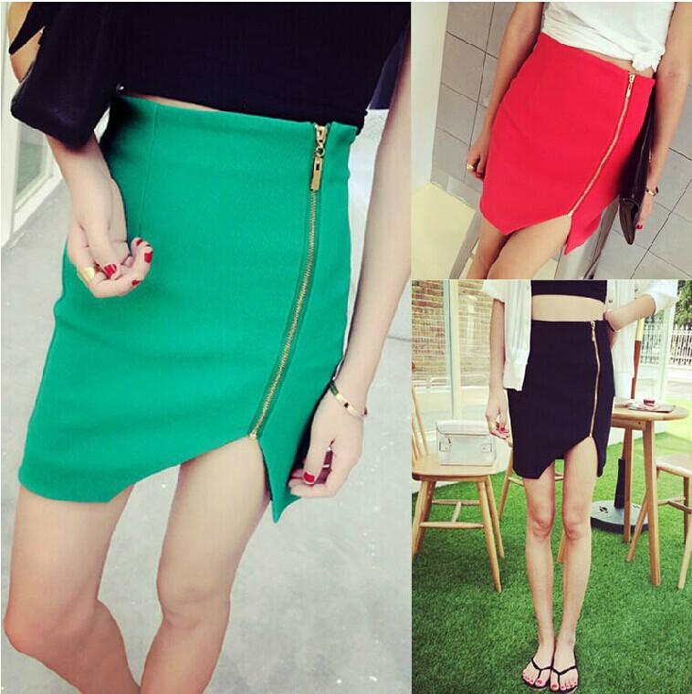 C82881A candy color ladies side slit with zip tight irregular skirts