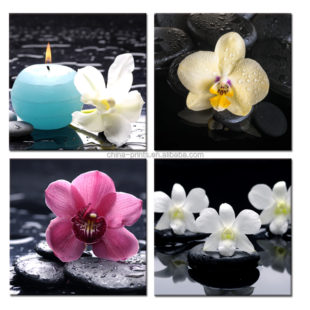Zen Stone Canvas Wall Art Orchid on Water Picture Printed on Canvas Flower Still Life Printing for Wall Decor