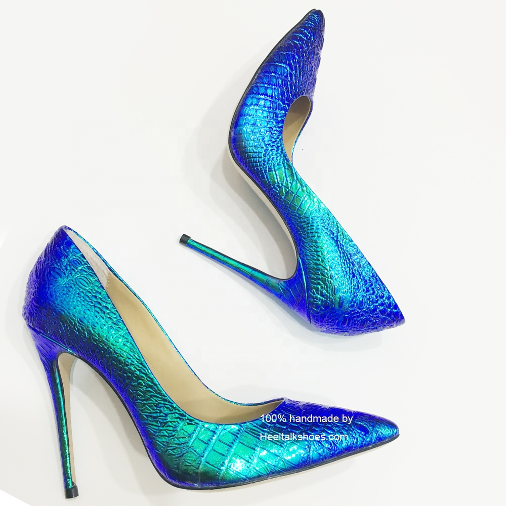 HeelTalk handmade high quality designer shoes women RUNWAY <strong>heels</strong> blue color changing pencil high <strong>heel</strong> shoes