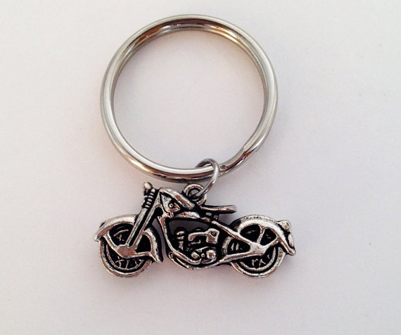 Wholesale Biker Jewelry antique silver 34x16mm custom motorcycle keychain