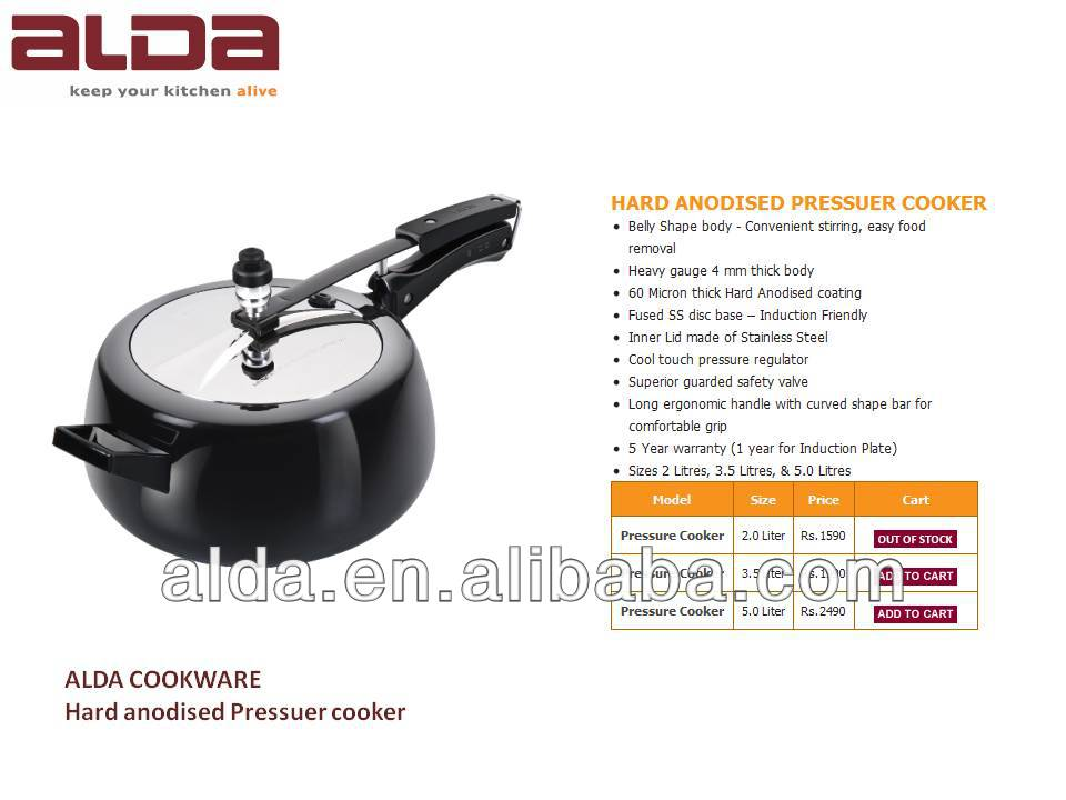 black Hard anodised pressure cooker