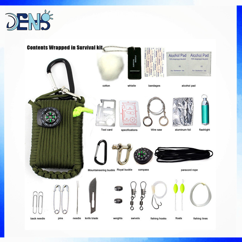 29 in 1 SOS Survival Outdoor EDC Paracord Survival Kit Emergency EDC Gear for Camping Hunting