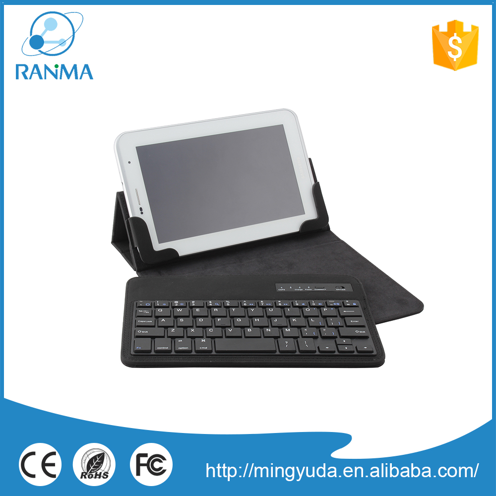 7/8inch rohs fcc ce bluetooth keyboard leather case for 7 inch tablet pc