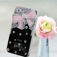 Luxury 3D Bling Crystal Diamond Bow Ribbon bowknot Hard Cover Skin Case for iPhone 4 4S