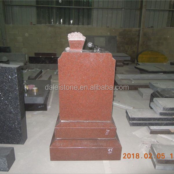 Indian Red Granite Unique Headstones Popcorn Design