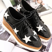 European style vintage star women platform shoes casual lace up shoes ladies