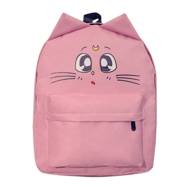 Casual Women Backpack Cat Ear Canvas Printing Backpacks for Teenage Girls Female Cute School Bag Bagpack mochila sac a dos