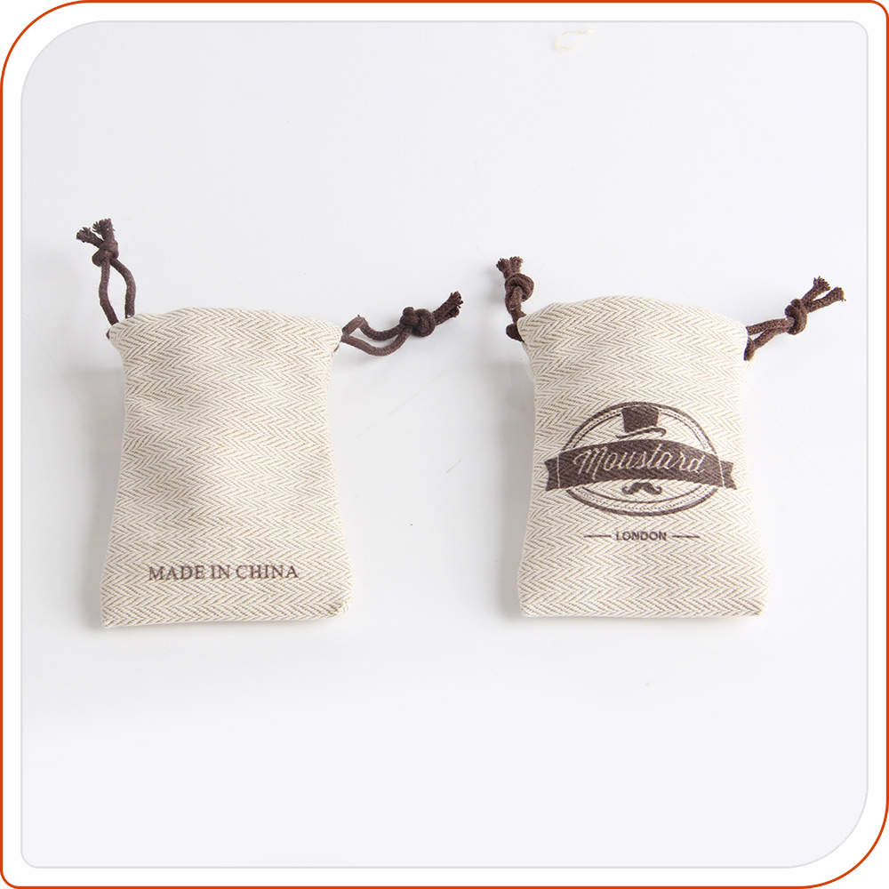 Promotional linen drawstring bag custom double pull string bags