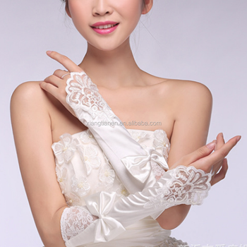 High quality new fashion long fingerless bowknot dress bridal wedding satin gloves for women