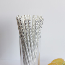 Outside the Box Papers Silver Stripe, Chevron and Star Paper Straws 7.75 Inches 75 Pack Silver, White