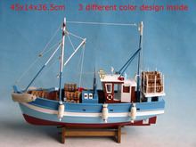Wooden Shrimp Boat Model, 46x14x36.5cm, 3C blue/white/red, Classic Fishing Crab ship model, nautical vessel yacht replic model