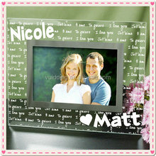 Engraved Name Glass Lovers Photo Frame For Engagement Souvenir